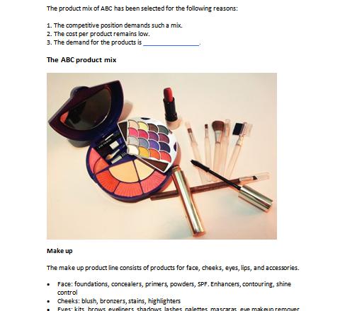 cosmetics store business plan