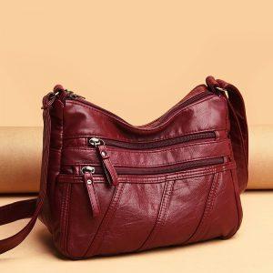 Soft PU Leather Vintage Women Shoulder Handbag