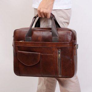 Genuine Leather 15.6″ Briefcase Bag For Men
